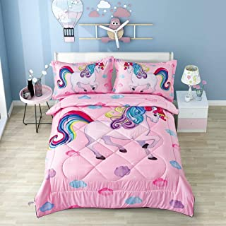 Wowelife Unicorn Comforter Sets 5 Piece Girl Bedding Set Cartoon Unicorn Pink Bedspreads with Comforter, Flat Sheet, Fitted Sheet and 2 Pillow Cases(Pink Unicorn, Twin)
