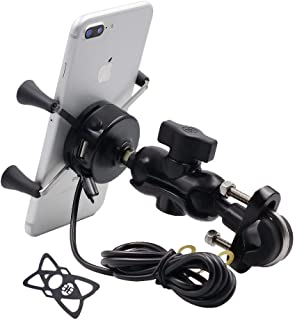TurnRaise バイク用スマホブラケットマウントキット USB電源付き車載携帯電話チャージャー オートバイク用スマホ固定ホルダー 角度調節可能 360°回転 2.1A出力電流 強力ゲル吸盤付き伸縮アーム 使用便利 強力固定