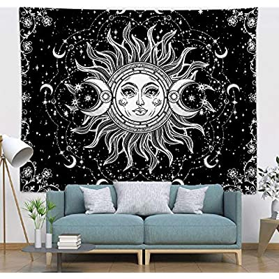 Amazon - 60% Off on Sun and Moon Tapestry Psychedelic Bohemian Mandala Wall Tapestry Black