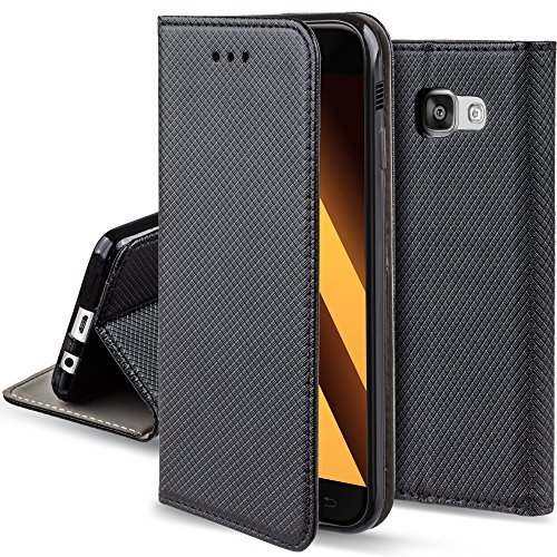 Moozy Hülle Flip Case für Samsung Galaxy A3 2017, Schwarz - Dünne Magnetische Klapphülle Handyhülle mit Standfunktion