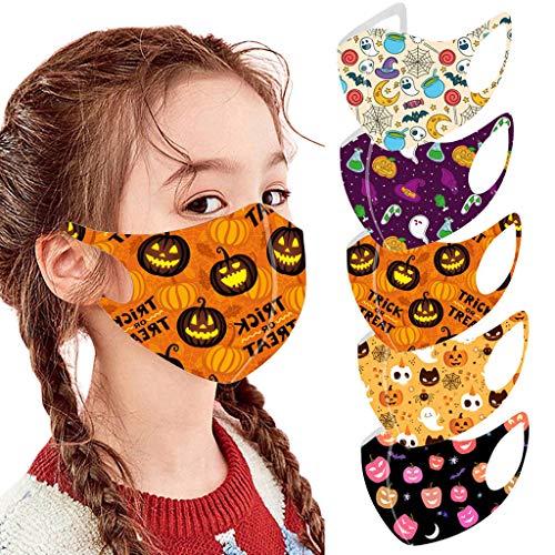 5 Kinder Halloween Stück Atmungsaktive Mundmasken Schutztuch Gesichtsschutz Schutzhülle Outdoor Schutztuch staubdicht Winddicht Mund Schal für die Sportmaske (E)