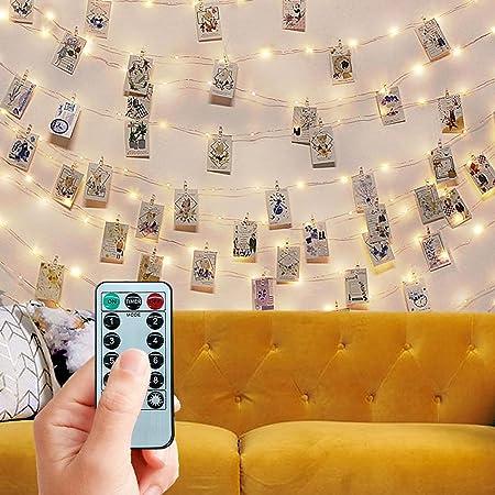Trongle LED Guirlande Photo, 10M 100LED Guirlande Lumineuse Chambre, Chaîne Suspendue, avec Télécommande Sans Fil Pour Chambre à Coucher Fête, Mariage, Décoration de Noël (Blanc Chaud)
