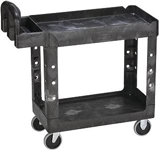 Rubbermaid 640-4500-88-BLA HD 2-Shelf Utility Cart with Small Lipped Shelf, Black, 39
