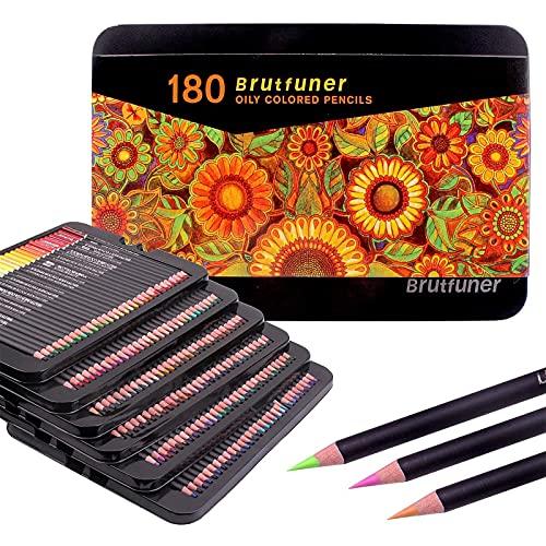 Lapices Colores Profesional,Juego de 180 lápices para colorear con caja de metal, lápices de colores al óleo, perfectos para libros de colorear adultos, estudiantes o niños suministros de arte escolar