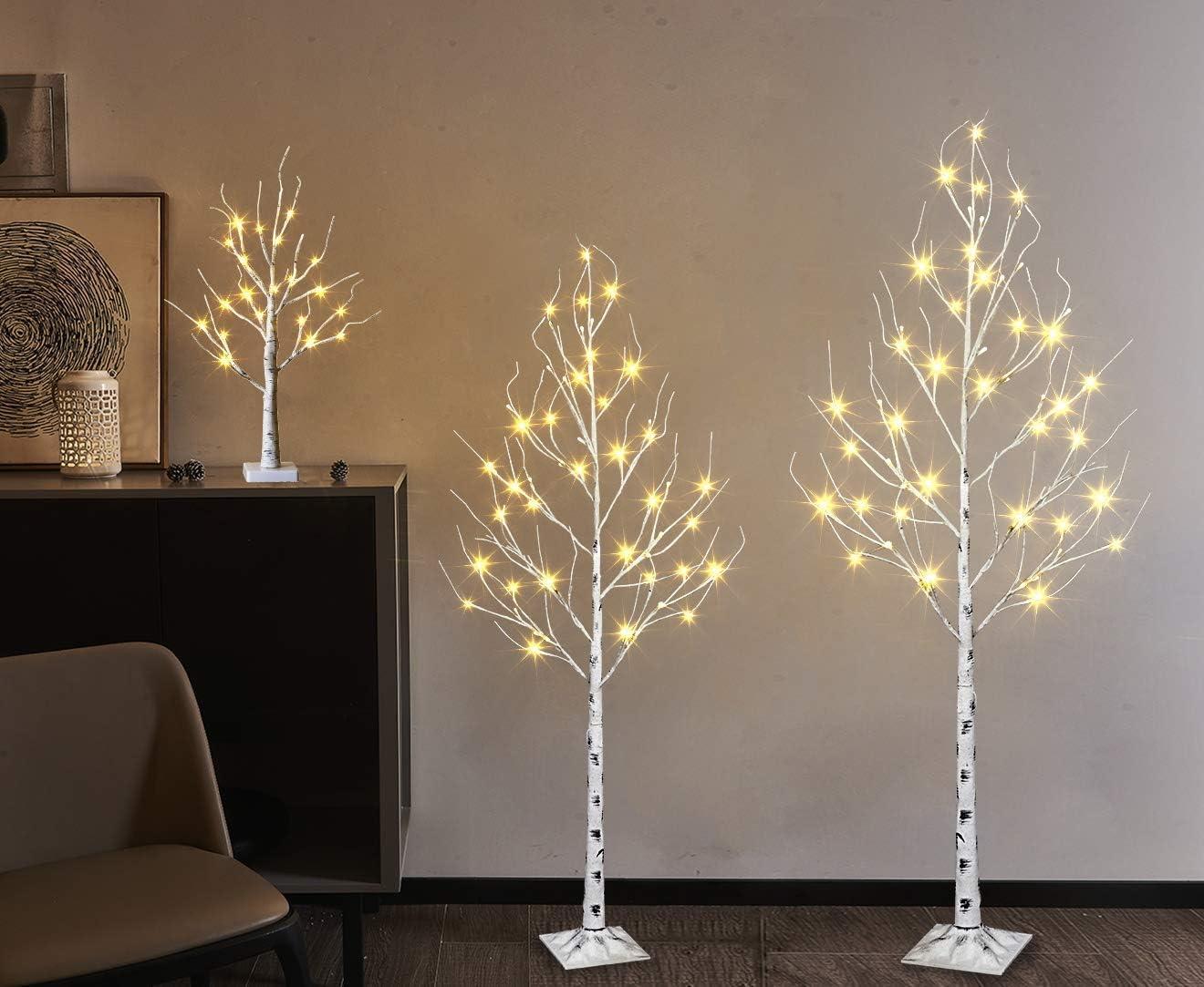 《週末限定タイムセール》 セール特価 EAMBRITE 5FT 6FT White Birch Tree Set LED 2FT O Battery and 24LT