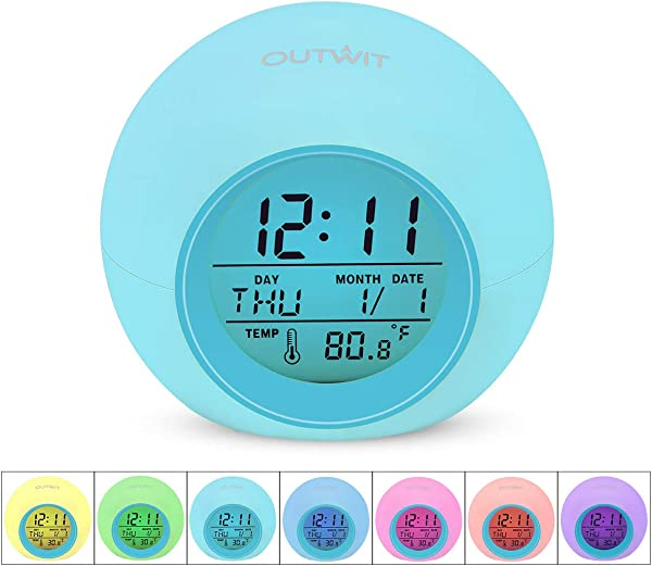 OUTWIT Kids Alarm Clock Updated Version Student Digital Clock For Boys Girls 7 Color Changing Light Bedside Clock For Children S Bedroom With Indoor Temperature Touch Control And Snoozing