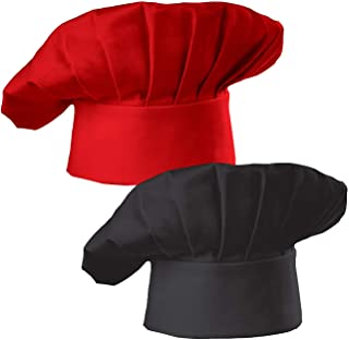 Hyzrz Chef Hat Set of 2 Adult Adjustable Elastic Baker Kitchen Cooking Chef Cap, Black, Red