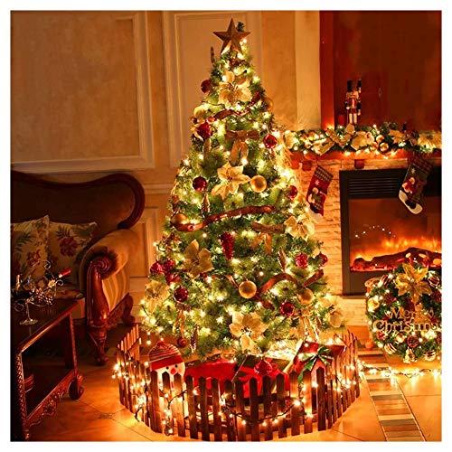 Árbol de Navidad Adorno árbol Pre-encendido de fibra óptica Spruce multifunción artificial del árbol de navidad plegable del soporte del metal de 6 pies blanco cálido Leds Top Star multicolor de Navid