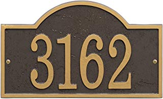 Whitehall Personalized Cast Metal Address Plaque - Custom House Number Sign - Arched Rectangle (12 x 7.25) Bronze w/Gold Numbers