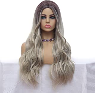 Blonde Long Wavy Curly Wig Dark Roots Synthetic Wigs For Women Heat Resistant Natural Wig