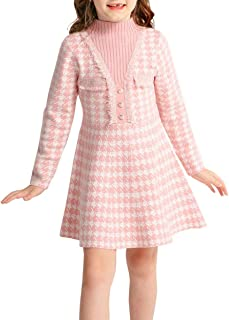 SMILING PINKER Girls Dresses Houndstooth Knitted Sweater Flare Winter Dress Mock Neck