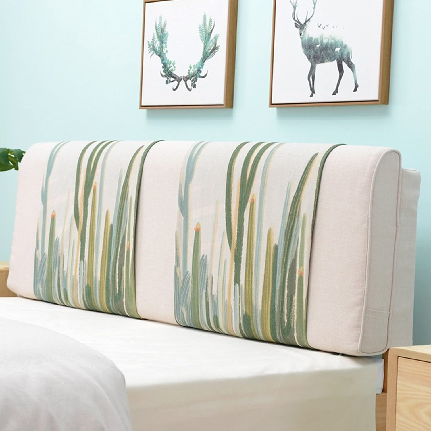 WENZHE Upholstered Fabric Headboard Bedside Cushion Pads Cover Bed Wedges Backrest Waist Pad Flax Bed Cover Large Back Home Bedroom Sofa Soft Case Pillow Multifunction Washable Country Style, There Is Headboard   No Headboard, 4 colors, 11 Choices ( color