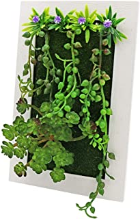 LSME Artificial Plant Frame Wall Hanging,3D Fake Assorted Succulents with String of Pearls Photo Frame for Home Cafe Office Decor (Rectangle)