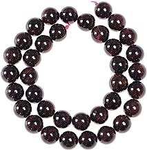 FANGQUN 45pcs 8mm Garnet Beads for Bracelets Natural Stone Burgundy Buddist Prayer Beads Loose Gemstone Polished Round Beads for Jewelry Making
