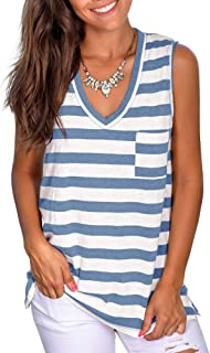 PINKMSTYLE Women's Casual Striped V Neck Tops Loose Sleeveless Front Pocket Shirts Tank Tops