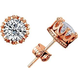 pursuit-of-self Rouns Stud Earings Fashion Jewelry Unisex Trendy Women/Men Crystal Earrings