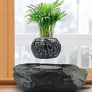Magnetic Floating Succulent Plant Bonsai Pot 360 Rotatable Flower Pot Suspension Desktop Planter Levitating Air Pot,Black1...