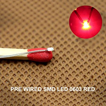 Evemodel T0603R 20pcs Pre-soldered micro litz wired leads RED 0603 SMD Led