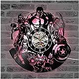 ZhangXF The Avengers Iron Man Schallplatte Wanduhr, LED Licht nachtlicht 12 Zoll Schallplatte Uhr...
