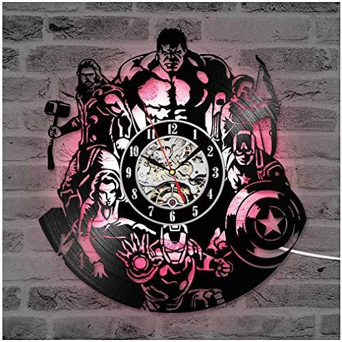 ZhangXF Schallplatte Wanduhr, LED Licht nachtlicht 12 Zoll Schallplatte Uhr Dekoration