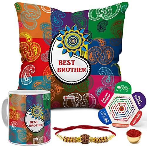 Indigifts Rakshabandhan Gifts for Brother Best Bro Printed Multi Cushion 12'x12' with Filler, Mug, Rudraksha Rakhi & Greeting Card...