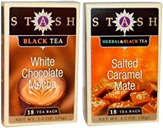Stash Black Tea 2 Flavor Variety Bundle, (1) each: Salted Caramel Mate, and White Chocolate Mocha (1.2 Ounces)