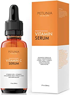 Vitamin C Serum for Face 20% with Hyaluronic Acid and Ferulic Acid, Anti Aging Collagen Booster, Natural Organic Skin Care for Acne Scars, Wrinkles, Fades Dark, Age Spot, Sun Damage