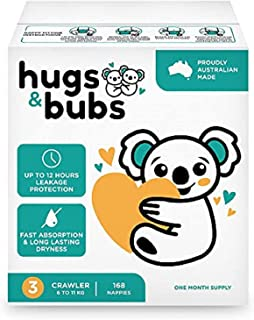 Hugs & Bubs, Size 3 Crawler nappies (6 -11kg), 168 nappies, One Month Supply