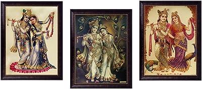 SAF Radha Krishna Golden Foil Frame Painting Set (Synthetic, 35 cm x 50 cm x 2 cm, Silver, Set of 3) (SOAD21)