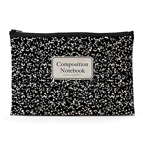 Ihopes Composition Notebook Canvas Zipper Pouch | Library Themed Cotton Canvas Pencil Case/Pencil Pouch/Pen Organizer Bag Gifts for Book Lovers Bookworm Readers Kids Student Friends