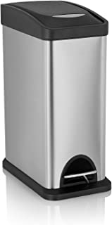 Gomda Trash Can lid,Fingerprints Proof Kitchen,Stainless Steel Removable Inner Wastebasket 2.1 Gallon, 2.1 Gall, Silver