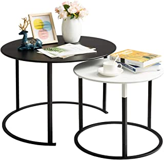 HollyHOME Modern Round Side Table Set of 2, Contemporary Accent Coffee and Snack Mental End Table, Nesting Tea Table for Living Room, (D) 27.56