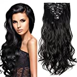 24' Extension a Clip 8 Bandes Ondulé - Extensions Cheveux Clips - Clip in Hair Extensions - 60cm(24 pouces) - Noir