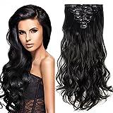Clip in Extensions wie Echthaar Schwarz Haarteile 8 Tresssen günstig komplette Haarverlängerung Gewellt 24'(60cm)-140g