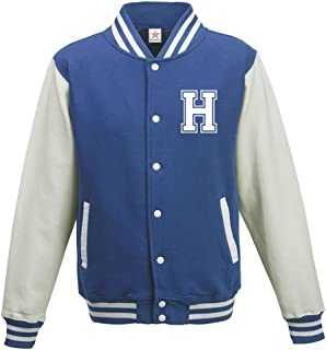 Star and Stripes Custom Initial Varsity Jacket, Personalised Varsity Jacket, Letterman College Jacket Royal/White Medium