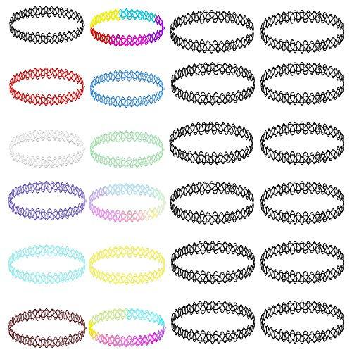 AoedeJ 12-24PC Choker Halskette Set Charm Stretch Elastic Henna Tattoo Choker Mehrfarbige Halskette Kragen für Frauen Mädchen (Stil 1)
