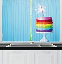 Lunarable Cake Kitchen Curtains, Rainbow Form of Icing on a Cake Stand with a Blue Plain Background Home Baked, Window Drapes 2 Panel Set for Kitchen Cafe Decor, 55