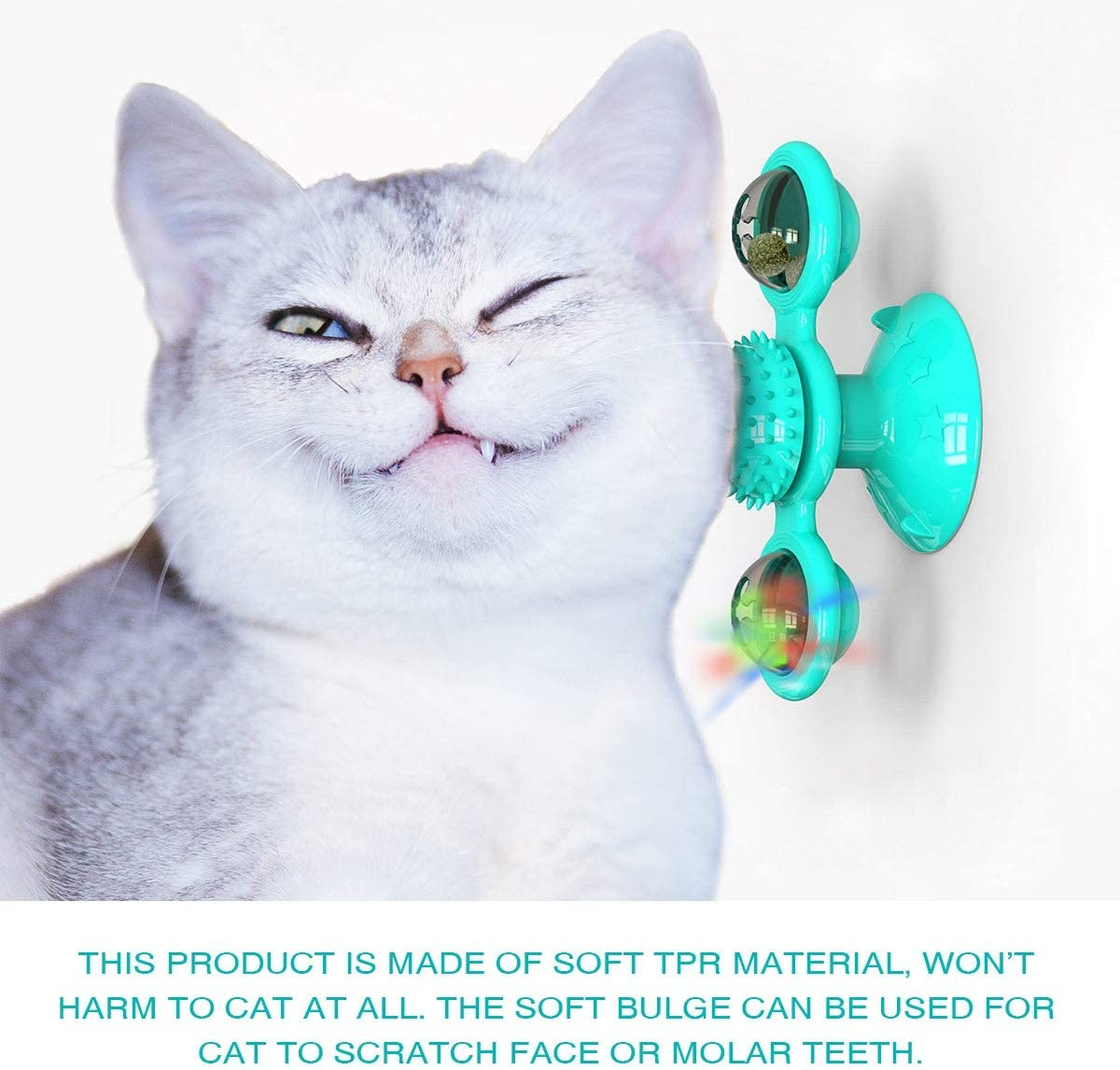 KZOBYD Windmill Cat Toy Turntable Teasing Toys with LED//Catnip Ball Kitten Interactive Toy with Suction Cup Base Washable Rotating Massage Scratching Tickle Brush Toys for Cats