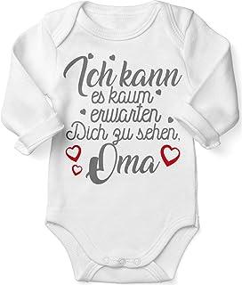Mikalino Babybody mit Spruch für Jungen Mädchen Unisex Langarm Ich kann es kaum erwarten Dich zu sehen Oma | handbedruckt in Deutschland | Handmade with Love