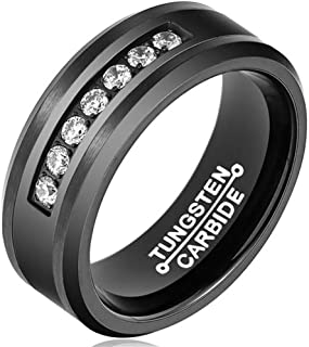 Gnzoe 8MM Black Tungsten Wedding Band White CZ Inlaid in Comfort Fit for Mens Brushed