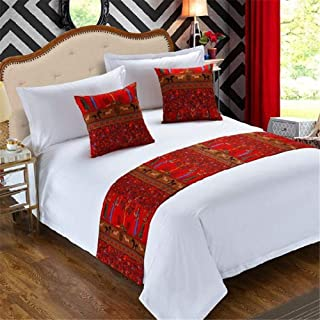 YIH Bed Runners & Scarves 3 Piece Set Red, Home Hotel Decor Luxury Foot Bed Runner Scarf, 1 Bed Runner + 2 Throw Pillow Case