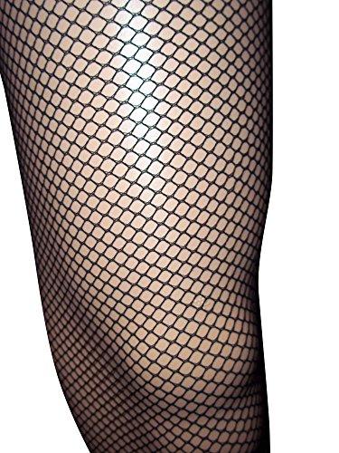 Emmas Wardrobe Schwarz Netzstrumpfhose Diamant-Netz-Leggings mit elastischer Taille - One Size Fits (Black)