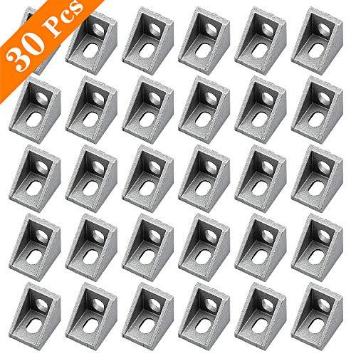 cococity 30 Stück Eckwinkel Aluminium, Eckverbinder 20 x 20 x 17mm Winkelverbinder L Form Winkel für Aluminiumrahmenstruktur der Bauindustrie 2020 Nut (Silber)
