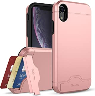 Teelevo Wallet Case for Apple iPhone XR (2018), Dual Layer Case with Card Slot Holder and Kickstand for Apple iPhone XR - Rose Gold