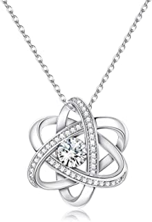 Sllaiss Austria Crystals Celtic Love Knot Necklace endless Flower Pendant Necklace set with AAA Cubic Zirconia Anniversary...