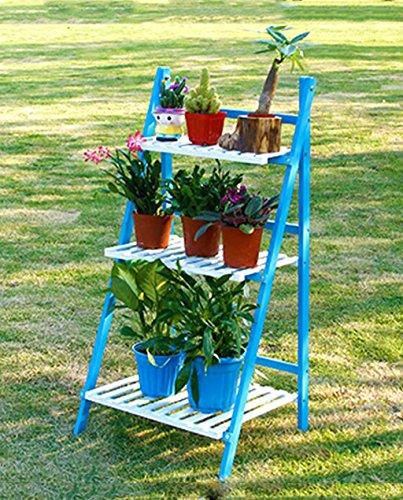 ZENGAI Couleur Bois massif Pot de fleurs pliant Plante de plantes Multi-étage Bonsai Terrasse Balcon Intérieur étage Salon Plateau en bois Flower Pot (taille : 50*40*96cm)