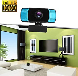 1080P USB Webcam, for Recording Video Conference, Online Teaching, Business Meeting Computer HD 30 fps Camera 2 Million Pixels Built-in omnidirectional Sound-absorbing Noise-reducing Mic(Black + Blue)