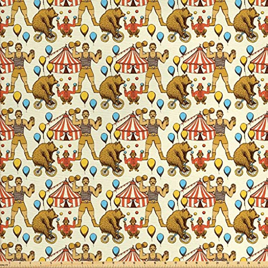 Lunarable Circus Fabric by The Yard, Sketchy Circles in Vintage Style Bear Rigdding on a Bicycle Strongman Print, Decorative Fabric for Upholstery and Home Accents, 1 Yard, Amber Orange Ivory