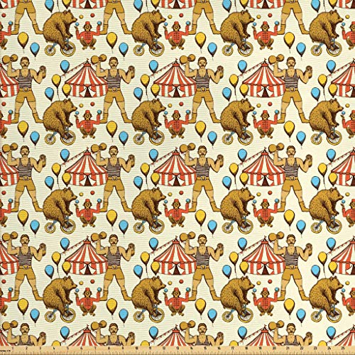 Lunarable Circus Fabric by The Yard, Sketchy Circles in Vintage Style Bear Rigdding on a Bicycle Strongman Print, Decorative Fabric for Upholstery and Home Accents, 1 Yard, Orange Amber