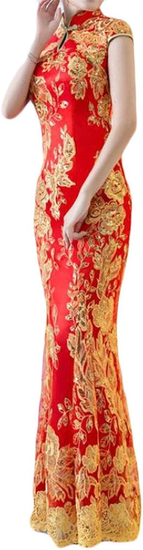 Cromoncent Women's Vintage Embroidery Lace Short Sleeve Cheongsam Bodycon Mermaid Dresses